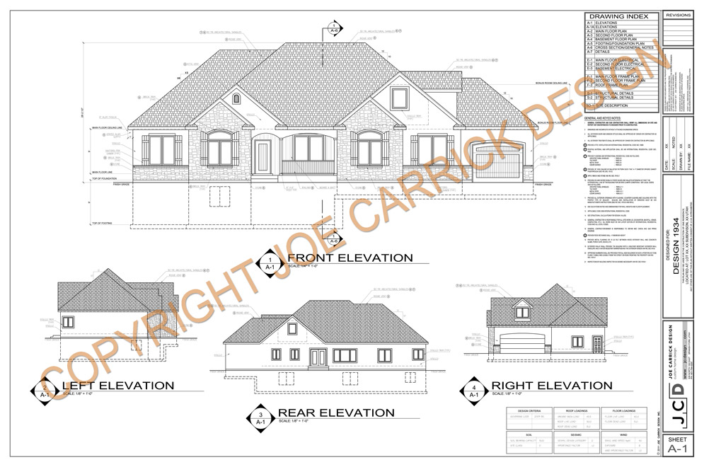 example plan set custom home design joe carrick design